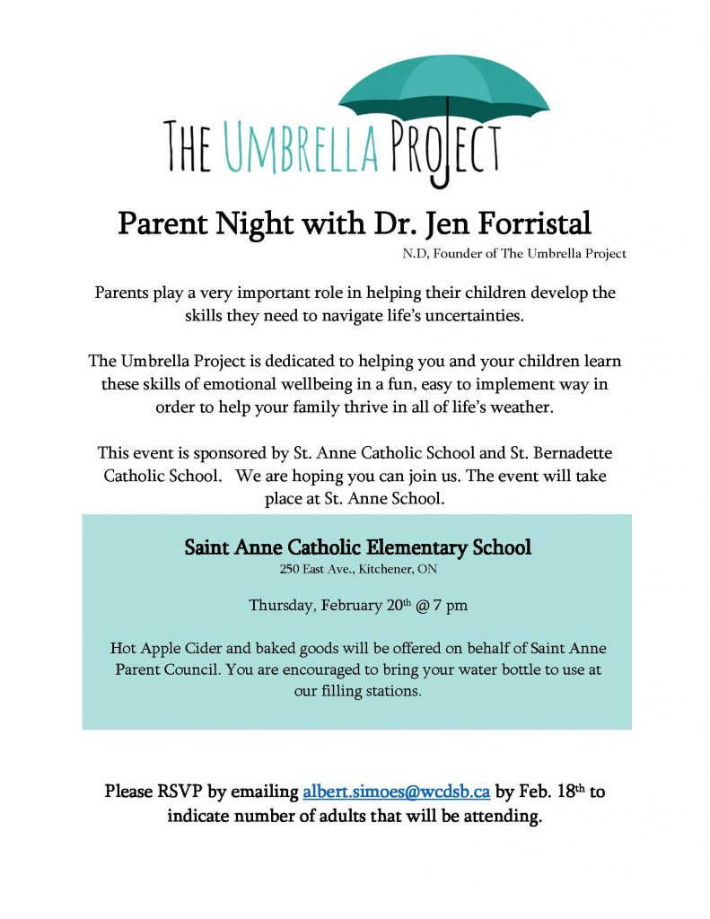 UP-ParentNightFlyer2020 St. Bernadette